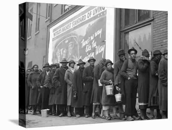 African American Flood Victims Lined Up to Get Food and Clothing From Red Cross Relief Station-Margaret Bourke-White-Stretched Canvas Print