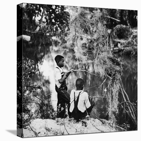 Albert Thornton's Grandson's Fishing-Gordon Parks-Stretched Canvas Print