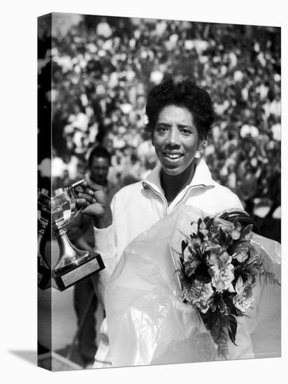 Althea Gibson Holding the Suzanne Lenglen Cup After Winning the French Title-Thomas D. Mcavoy-Stretched Canvas Print