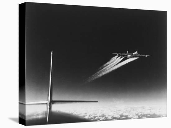 American B-36 Bomber Leaving Vapor Trails During High Altitude Flight over Carswell AFB-Margaret Bourke-White-Stretched Canvas Print