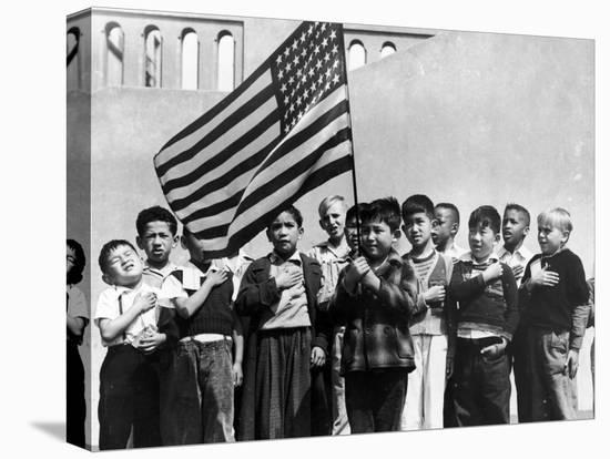 American Children of Japanese, German and Italian Heritage, Pledging Allegiance to the Flag-Dorothea Lange-Stretched Canvas Print