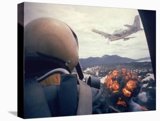 American Jets Dropping Napalm on Viet Cong Positions Early in the Vietnam Conflict-Larry Burrows-Stretched Canvas Print
