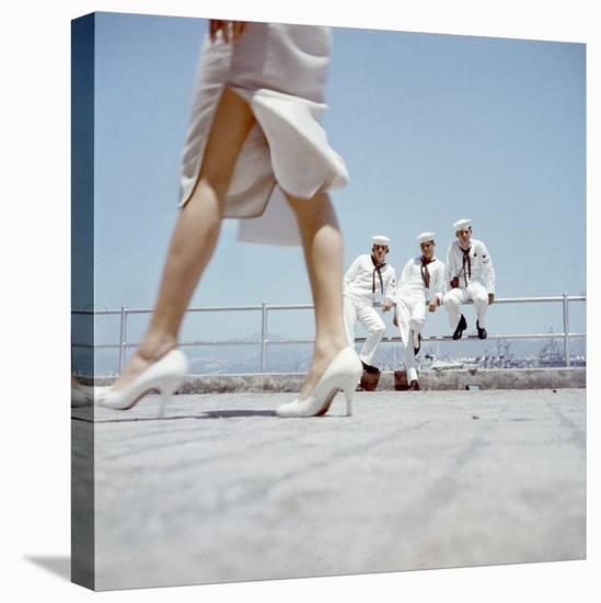 American Navy 7th Fleet Sailors on Shore Leave in Hong Kong, China, 1957-Hank Walker-Stretched Canvas Print