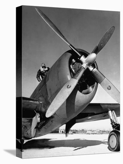 American P-47 Thunderbolt Fighter Plane and its Pilot-Dmitri Kessel-Stretched Canvas Print