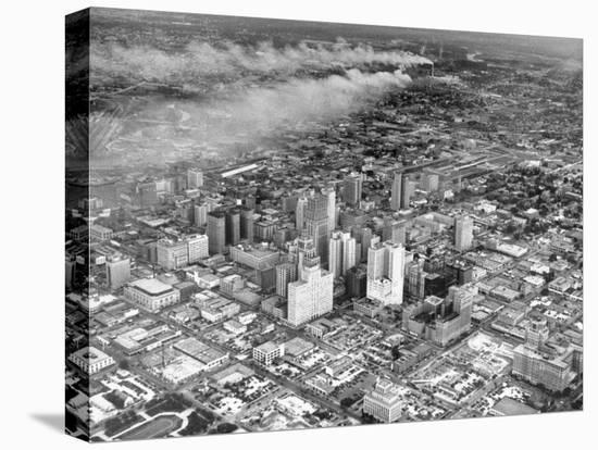 An Aerial View of the City Houston-Dmitri Kessel-Stretched Canvas Print