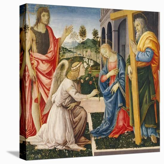 Annunciation and Saints-Filippino Lippi-Stretched Canvas Print
