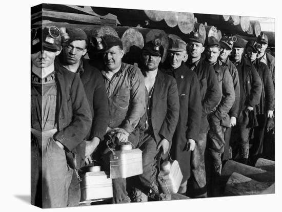 Anthracite Coal Miners Coming Out of Powderly Mine-Margaret Bourke-White-Stretched Canvas Print