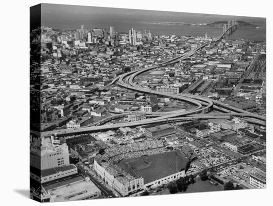 Ariels of Seals Stadium During Opeaning Day-Nat Farbman-Stretched Canvas Print