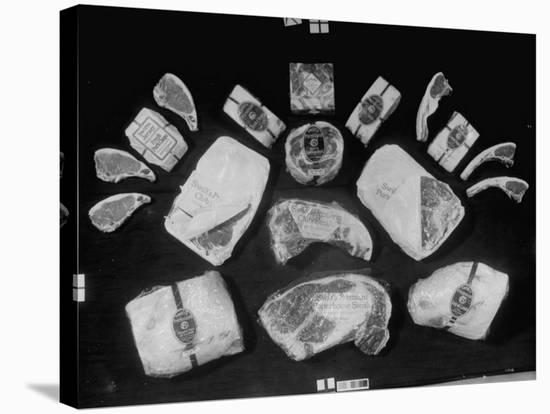 Array of Packaged Swift Meats Including Steaks, Pork Chops, Leg of Lamb and Others-Margaret Bourke-White-Stretched Canvas Print