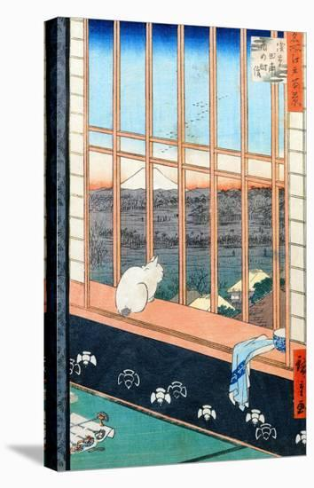 """Asakusa Rice Fields During the Festival of the Cock from the Series """"100 Views of Edo,"""" Pub. 1857-Ando Hiroshige-Stretched Canvas Print"""
