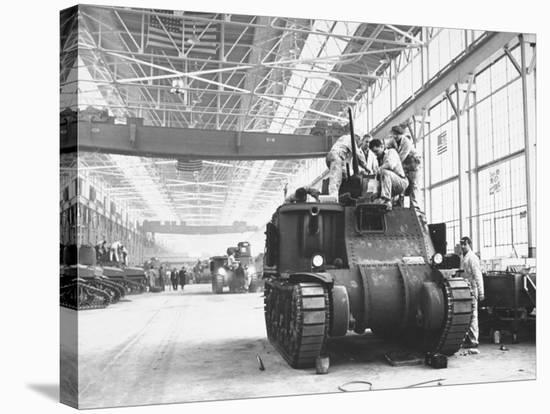 Assembling Sherman Tanks, Aiding War Effort on Home Front During WWII, Chrysler Plant in Detroit-Gordon Coster-Stretched Canvas Print