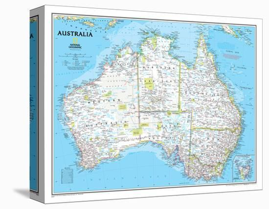 Australia Political Map-National Geographic Maps-Stretched Canvas Print
