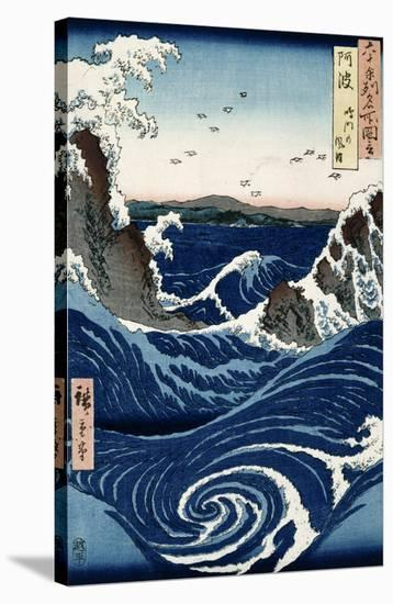 Awa Province: Stormy Sea at the Naruto Rapids from 'Famous Places of the Sixty Provinces', 1853-Ando Hiroshige-Stretched Canvas Print