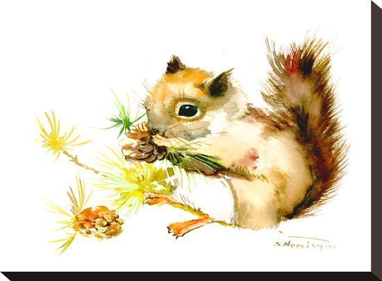 Baby Squirrel-Suren Nersisyan-Stretched Canvas Print