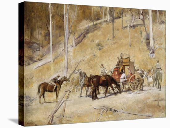 Bailed up-Tom Roberts-Stretched Canvas Print