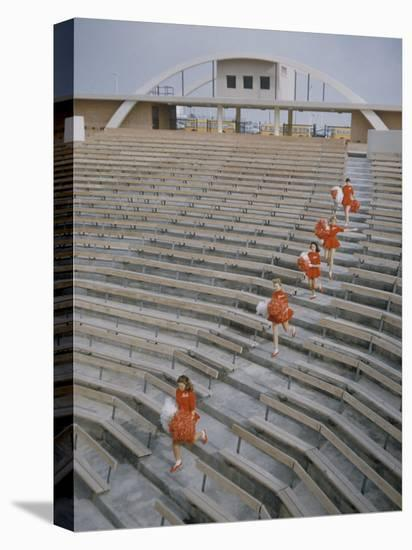 Bakersfield Junior College: Cheerleaders Practicing for Football Rally-Ralph Crane-Stretched Canvas Print