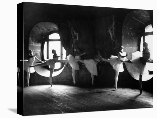 "Ballerinas at Barre Against Round Windows During Rehearsal For ""Swan Lake"" at Grand Opera de Paris-Alfred Eisenstaedt-Stretched Canvas Print"