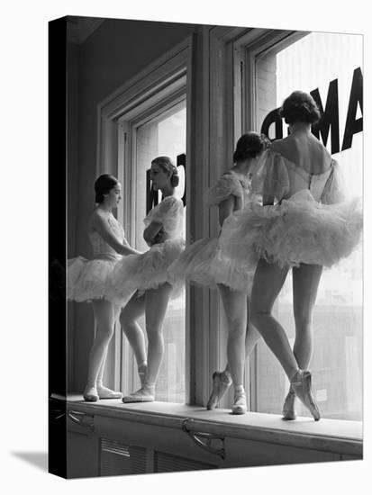 Ballerinas on Window Sill in Rehearsal Room at George Balanchine's School of American Ballet-Alfred Eisenstaedt-Stretched Canvas Print