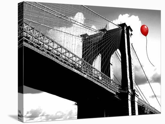 Balloon over Brooklyn Bridge-Masterfunk collective-Stretched Canvas Print