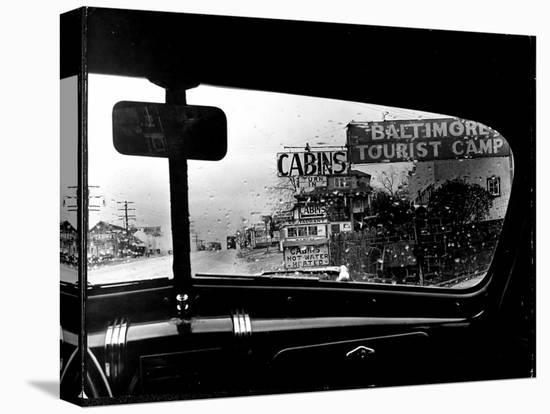 Baltimore Washington stretch of U.S. Highway is a clutter of signs through rain covered windshields-Margaret Bourke-White-Stretched Canvas Print