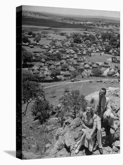 Bamangwato Tribal Chief Seretse Khama with Wife Ruth, Tribal Capital of Bechuanaland-Margaret Bourke-White-Stretched Canvas Print