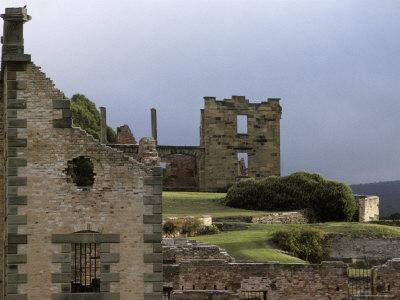 Barred Windows and Stone Ruins at Port Arthur Convict Penal Colony, Australia-Jason Edwards-Stretched Canvas Print