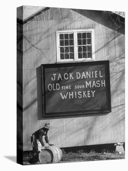 Barrel Being Rolled to Warehouse at Jack Daniels Distillery-Ed Clark-Stretched Canvas Print