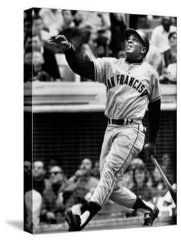 Baseball Player Willie Mays Watching Ball Clear Fence for Home Run in Game with Dodgers-Ralph Morse-Premier Image Canvas