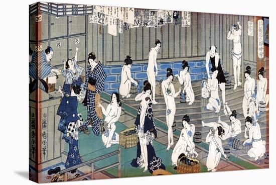 Bath House Scene, a Print by Toyohara Kunichika, 19th Century-Toyohara Kunichika-Premier Image Canvas