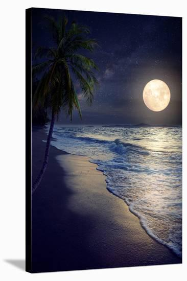 Beautiful Fantasy Tropical Beach with Milky Way Star in Night Skies, Full Moon - Retro Style Artwor-jakkapan-Stretched Canvas Print