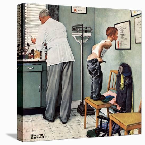 """""""Before the Shot"""" or """"At the Doctor's"""", March 15,1958-Norman Rockwell-Stretched Canvas Print"""