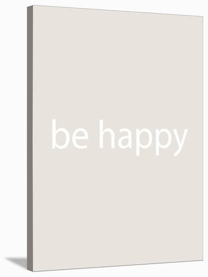 Beige Be Happy-Jetty Printables-Stretched Canvas Print