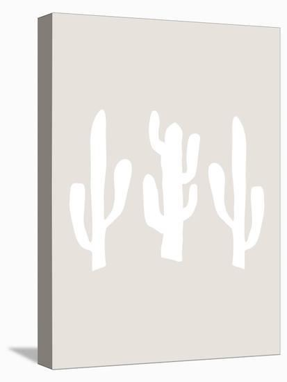 Beige White Cactus-Jetty Printables-Stretched Canvas Print