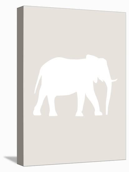 Beige White Elephant-Jetty Printables-Stretched Canvas Print