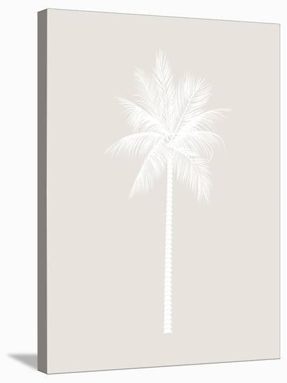 Beige White Palm-Jetty Printables-Stretched Canvas Print
