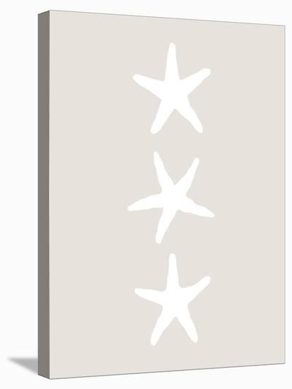 Beige White Starfish Vertical-Jetty Printables-Stretched Canvas Print