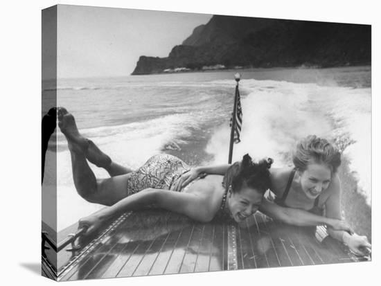 Betty Brooks and Patti McCarty Motor Boating at Catalina Island-Peter Stackpole-Stretched Canvas Print