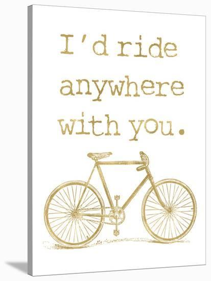 Bicycle I?d Ride Anywhere Golden White-Amy Brinkman-Stretched Canvas Print