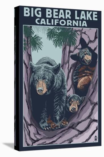 Big Bear Lake, California -Bear and Cubs-Lantern Press-Stretched Canvas Print