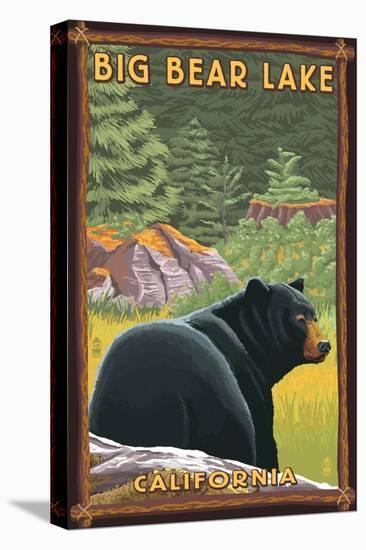 Big Bear Lake, California - Black Bear in Forest-Lantern Press-Stretched Canvas Print