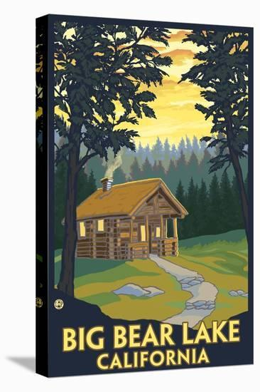 Big Bear Lake, California -Cabin in the Woods-Lantern Press-Stretched Canvas Print