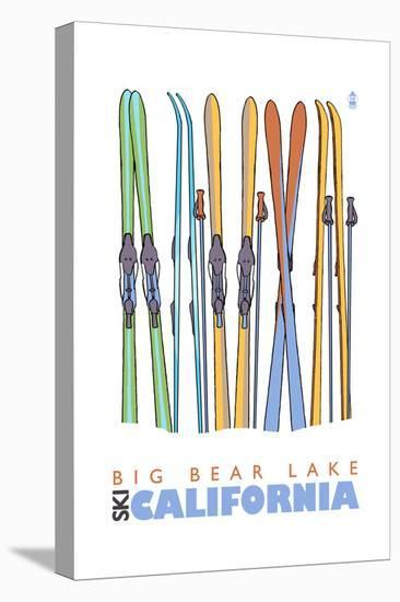 Big Bear Lake - California - Skis in Snow-Lantern Press-Stretched Canvas Print