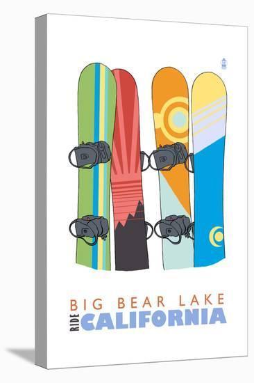 Big Bear Lake - California - Snowboards in Snow-Lantern Press-Stretched Canvas Print