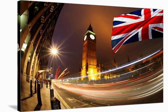 Big Ben With Flag Of England--Stretched Canvas Print