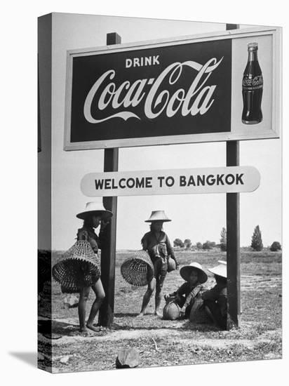 "Billboard Advertising Coca Cola at Outskirts of Bangkok with Welcoming Sign ""Welcome to Bangkok""-Dmitri Kessel-Stretched Canvas Print"