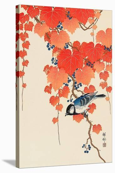 Bird and Red Ivy-Koson Ohara-Stretched Canvas Print