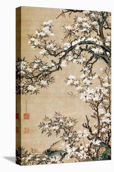 Birds on Aronia Branch-Jakuchu Ito-Stretched Canvas Print