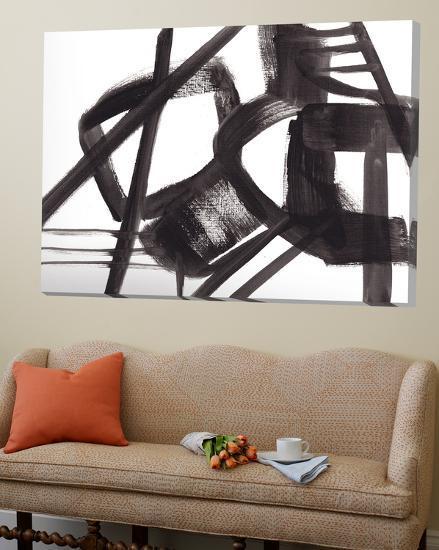 Black and White Abstract Painting 3-Jaime Derringer-Loft Art