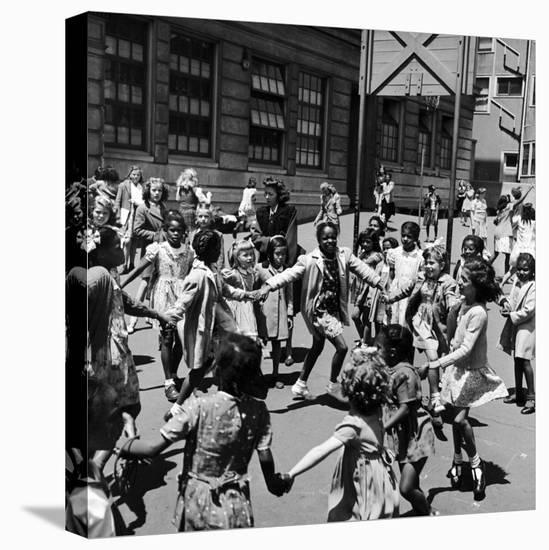 Black and White Children Playing in School Playground-Peter Stackpole-Stretched Canvas Print