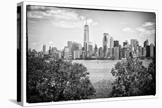 Black Manhattan Collection - Skyline-Philippe Hugonnard-Stretched Canvas Print